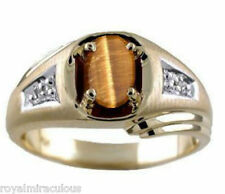 Mens Tigers Eye & Diamond Ring 14K Yellow Gold