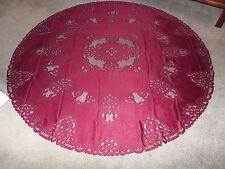 New Burgundy Battenberg lace design Tablecloth  70 round