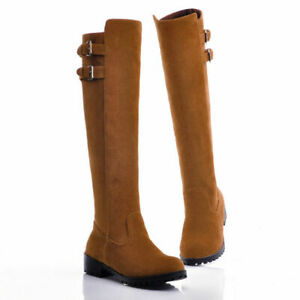 Women Suede Buckle Strap Knee High Riding Boots Retro Pull On Pointed Toe Shoes