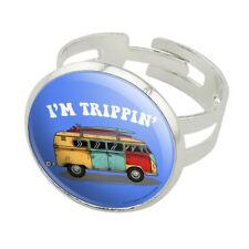 I'm Trippin' Retro Van Funny Humor Silver Plated Adjustable Novelty Ring