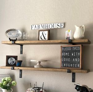 House Additions 2 Wall Shelves Walnut Solid Wood & Black 60 L x 16cm H x 14cm D