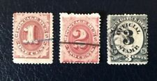 United States 1870's Postage Due stamps and 3c black post office official