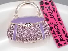 Betsey Johnson Fashion inlay purple Crystal handbag Pendant Necklace # B