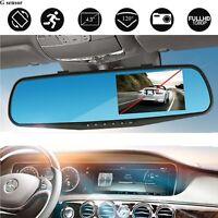 "4.3"" 1080P HD Dual Lens Car DVR Dash Video Cam Mirror Recorder Rear View Camera"