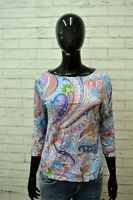 RALPH LAUREN Blusa Maglia Donna Taglia S Casacca Manica 3/4 Shirt Women Floreale