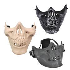 S6 Airsoft paintball craneo mascara de esqueleto medio mascarillas arma (Negro)