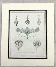 1859 Print Victorian Jewellery Design Tiara Brooch Earrings Original Antique