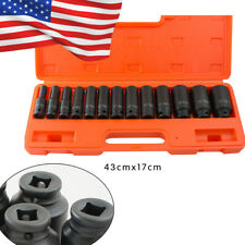 "【USA SHIP】13Pcs 1/2"" Deep Impact Socket Tool Kit 10-32mm Metric Garage Workshop"