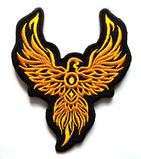 Beautiful Yellow Phoenix Tattoo Biker Embroidered Iron on Patch Free Postage