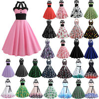 Womens Rockabilly Dresses 50s 60s Skater Midi Dress Vintage Style Evening Party