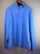 tommy hilfiger Men's XXL Blue 1/4 Zip Pull Over Sweater 100% Cotton