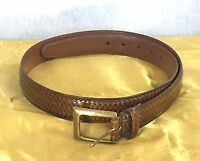 Torino embossed belt Italian Calfskin with solid brass buckle brown Sz 34