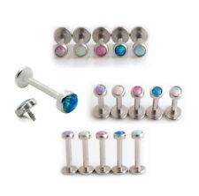 Surgical Steel Internally Threaded Opal Labret Helix Cartilage Tragus Lip Bar