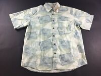 Caribbean Mens Floral Hawaiian Short Sleeve Button Front Shirt Size Large