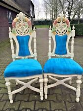 antique pair of two handmade chairs in Venetian, Italian style in blue fabric