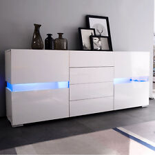 RGB LED High Gloss White Sideboard Cabinet Cupboard With 4 Drawers & 2 Doors