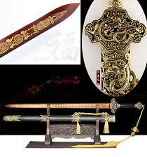 40' Rose Wood 1095 Carbon Steel Has Carving Sharp Dragon Chinese Han Sword 汉剑