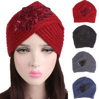 Muslim Women Knitted Turban Hat Strench Pleated Hijab Indian Head Wrap Chemo Cap