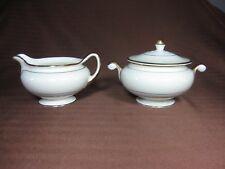 Homer Laughlin M 45 N 5 Creamer and Sugar Bowl M1604 Ivory with Dark Gold Trim