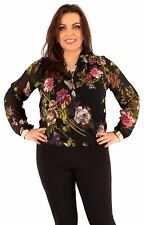 New Ladies Curve Bangle Buckle Cuff Long Sleeve Chiffon Floral Wrap Tops 16-20