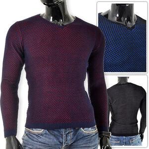 Mens Jumper Medium knit V-Neck Diamond Pattern Ovelaping Colour Slim Fit M L