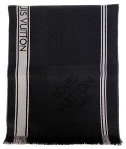 Authentic LOUIS VUITTON Scarves Esharupu Messager M72685 wool gray Damier Geant