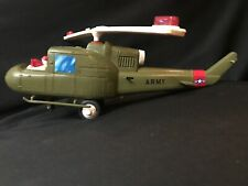 """Vintage """"Johnny Tarheel Toys"""" Battery Operated Plastic Army Helicopter"""
