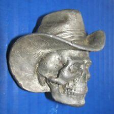 Vintage 1981 Bergamot Brass Works cowboy hat skull belt buckle men's accessory