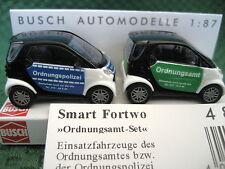 "Busch (HO 1:87) Smart Fortwo ""Ordnungsamt"" (2 Car) Set #48982"