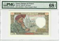 France 50 Francs Banknote 1941 Pick#93 PMG Superb GEM UNC 68 EPQ - Vintage