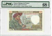 France 50 Francs Banknote 1941 Pick#93 PMG Superb GEM UNC 68 EPQ - Vintage