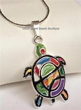 Silver Enamel Sea Turtle Necklace Multicolor Sea Life Beach 18 inch USA Seller
