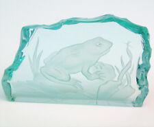 Etched Art Glass Artist Signed Scrivner Frog & Bug In Pond Plaque Paperweight!