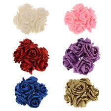 FR_ EG _ 12 pièces artificiel mousse fleur rose tête poudre de paillettes