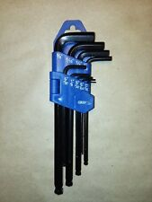 "9pc Ball Hex Key Set SAE 1/16"" 5/64"" 3/32"" 1/8"" 5/32"" 3/16"" 1/4"" 5/16"" 3/8"""