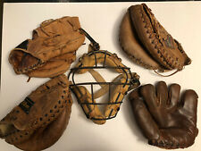 "Vintage 1950 Baseball Mitts / Gloves/ & Face Gaurd Various ""Signed"""