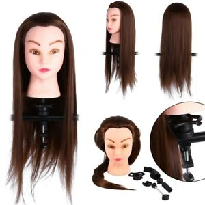 Real Human Long Hair Training Head Hairdressing Practice Mannequin Doll & Clamp