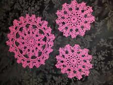 Handmade Vintage Set of 3 round Pink Crocheted Doilies. Beautifully detailed