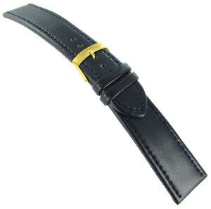 24mm Morellato Dark Navy Genuine Leather Padded Stitch Watch Band 1718 Long
