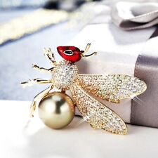Swarovski Crystal Pearl Cute Termite Brooch Thick 18K Yellow Gold Gf Made With