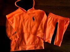 boys 2 Pc Ralph Lauren Outfit shorts sweatshirt Neon Orange active Polo size 5