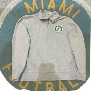 Miami Dolphins Pull Over Gray Jacket with zipper and Vintage Patch