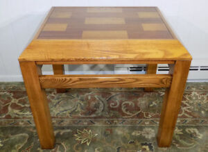 Lane Oak & Walnut parquet end or lamp table #11145 1980's post modern brutalist