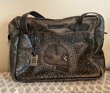 FRYE SKULL STUDDED Distressed Leather Shoulder Tote Bag Black Studs Rare Purse