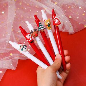 3pcs Random Christmas Black Ink Gel Pen Retractable Exam Pens Promotional Gift