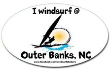 "I  Windsurf @   Outer Banks      Bumper/Window Sticker   OVAL 3"" X 5"""