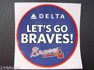 "ATLANTA BRAVES - DELTA AIR LINES ""LETS GO BRAVES STICKER"" 2 1/2"""