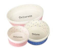 50's Style Ceramic Polka Dot Dishes for Dogs & Cats Prince Princess Food Bowls