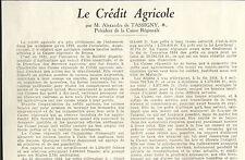 08 LE CREDIT AGRICOLE ARTICLE PRESSE PAR ALEXANDRE DE TASSIGNY 1937