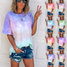 Women Summer Short Sleeve Tunic Crew Neck T Shirt Loose Print Casual Tops Blouse